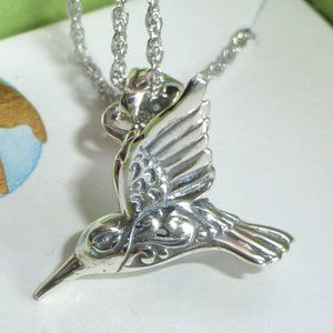 Sterling Silver 3D Hummingbird Necklace, New!